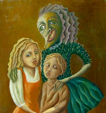 Portrait of unhappy family
